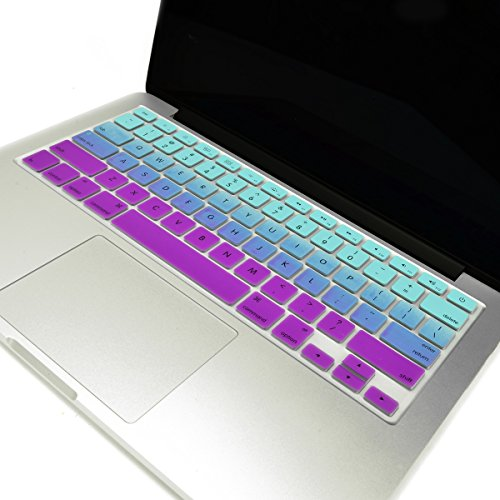 TOP CASE - Faded Ombre Series Keyboard Cover Skin Compatible with MacBook 13 Unibody/Old Generation MacBook Pro 13 15 17 /MacBook Air 13/Wireless Keyboard-Light Blue&Purple