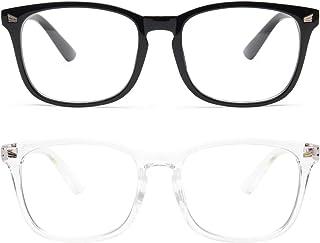 Livho 2 Pack Blue Light Blocking Glasses, Computer Reading/Gaming/TV/Phones Glasses for Women Men,Anti Eyestrain & UV Glare (Light Black+Clear)