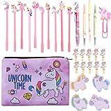 Set de regalo de papelería con diseño de unicornio para lapiceros, bolígrafos, bolígrafos, kit de papelería escolar, regalo en bolsa de Navidad para mujeres y niñas, color 3# 3#