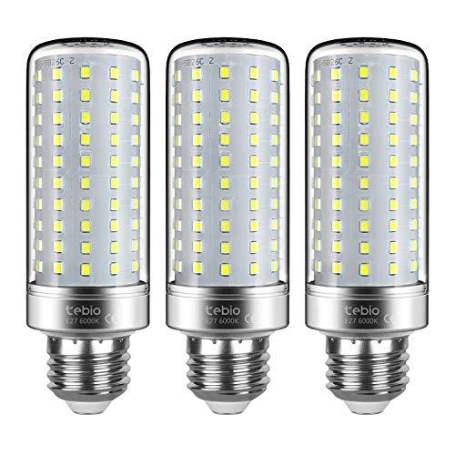 Tebio lampadine a LED color argento, attacco E27 25W 200W equivalenti a lampadine a incandescenza, non dimmerabili, 6000K, luce bianca fredda, 2500lm, con vite a vite Edison media, confezione da 3