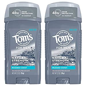 WHAT YOU'LL GET: Contains three 2.7-ounce sticks of Tom's of Maine Natural Deodorant for Men in Rugged Coast Scent 48-HOUR ODOR PROTECTION: Experience 48 hours of odor protection with this solid men's deodorant stick to help you feel fresh and confid...