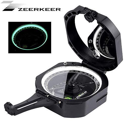 Zeerkeer Brújula multifuncional profesional, brújula militar resistente al agua de alta precisión con inclinómetro, nivel de burbuja y bolsa de transporte para senderismo, navegación, geología
