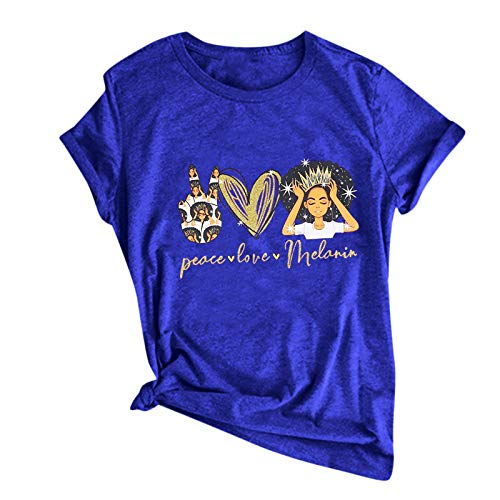 YAAY Peace Love Melanin Hippie Camiseta para mujer con citas divertidas y gráficas de manga corta para verano, camisetas básicas