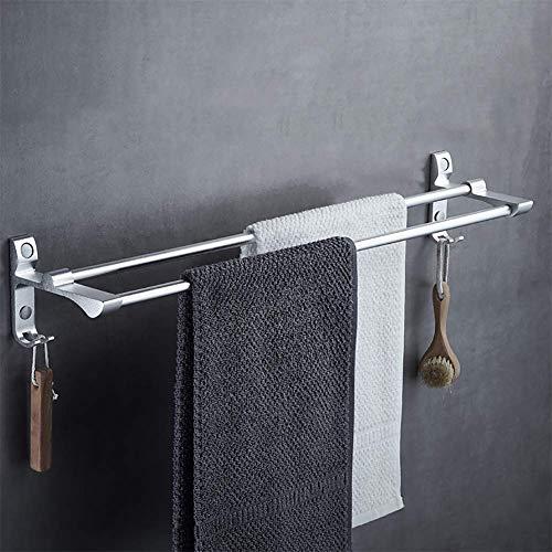 DLILI Barra Toalla baño, Barra Toalla Premium SUS304 2 Capas Acero Inoxidable, fácil instalación - níquel Cepillado, Estilo Moderno, 40 CM