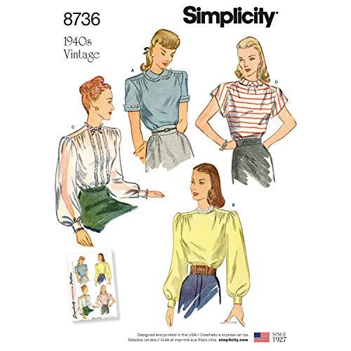 Simplicity 1940er Jahre Mode Damen Vintage Bluse Schnittmuster, Größen 44-52
