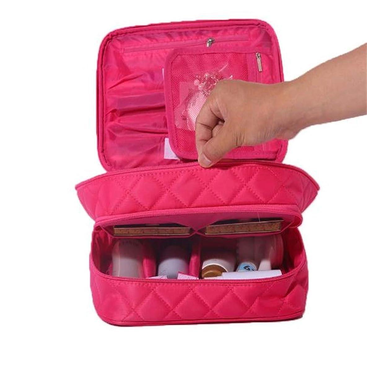 データ殉教者予測する化粧オーガナイザーバッグ ポータブルトラベルレディース菱形化粧品バッグナイロンパーティション化粧ケースダブルオープンウォッシュストレージバッグミニ化粧バッグ。 化粧品ケース (色 : 赤)