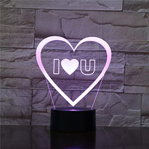 Lámpara de ilusión 3D Luz de noche LED Interruptor táctil Lámpara de acrílico Forma de corazón Inteligente Control remoto de 16 colores Regalo del día de la madre Habitación de los niños Niño Niña