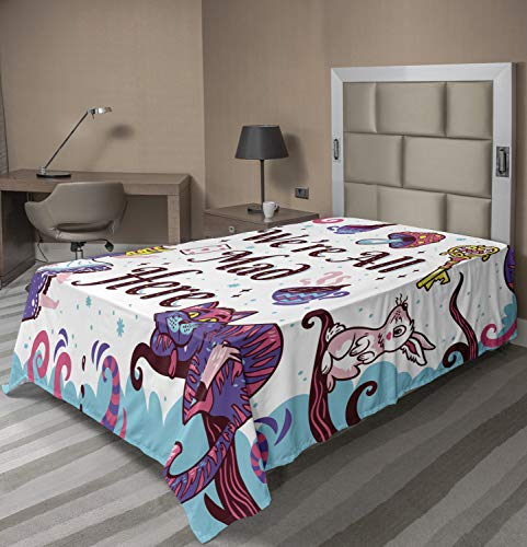 Ambesonne Alice in Wonderland Flat Sheet, We are All Mad Here Words with Caterpillar White Rabbit Cheshire Cat, Soft Comfortable Top Sheet Decorative Bedding 1 Piece, Twin Size, Purple Blue