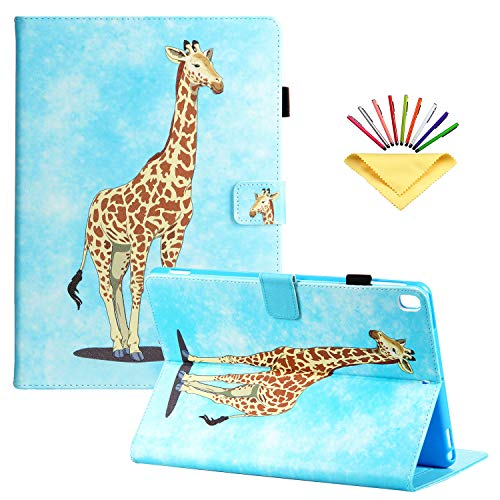 Uliking for Apple iPad 10.2 inch Case 2020/2019, iPad 10.2 8th/7th Generation Cover with Pencil Cards Holder [Auto Sleep/Wake] Folio Stand Smart PU Leather TPU Back Shockproof Wallet, Giraffe Sky