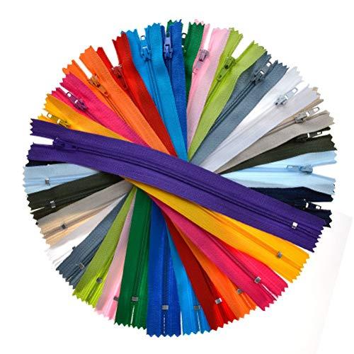 Idealeben カラーファスナー セット 125本20色 20cm ジッパー チャック ファスナー セット 衣類/クッション/ハンドメイド/小物作りに適用 手芸 修理 DIY ナイロン製