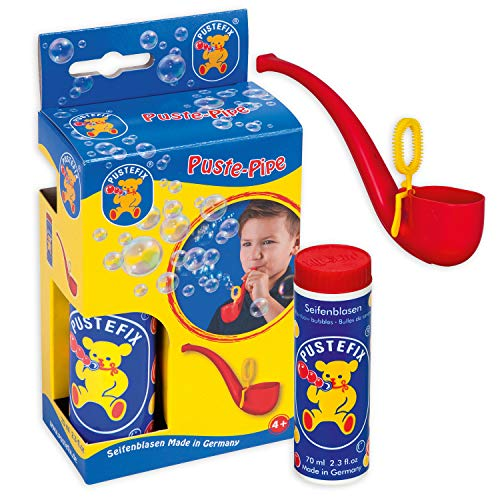 Pustefix Puste-Pipe I 70 ml Seifenblasenwasser I Bunte Bubbles Made in Germany I Seifenblasen Spielzeug für Kindergeburtstag, Polterabend, Sommerparty & Hochzeit I Pfeife für Kinder & Erwachsene