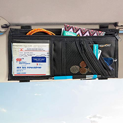 High Road Car Visor Organizer with Adjustable Straps