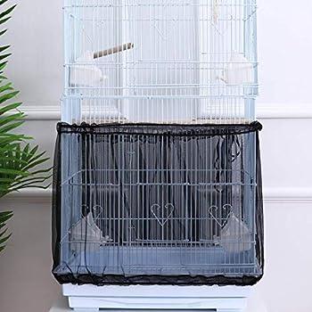 CAILI Housse Cage Oiseau,FlexibleHousse pour Cage Oiseaux Maille Couverture Protection Cage Oiseaux Perruches Canaris Attrape Graine - Flexible(L, Noir)