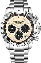 Stuhrling Original Ascot Mens Black Watch - Swiss Quartz Analog Date Wrist Watch for Men - Stainless Steel Mens Designer Watch (Black/Brown)