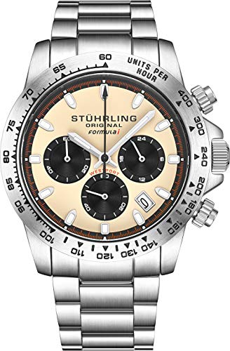 Stuhrling Original Ascot Mens Black Watch - Swiss Quartz Analog Date Wrist Watch for Men - Stainless Steel Mens Designer Watch (Black/Brown)