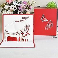 3D三次元のグリーティングカードバースデーカードの女の子の子供たちの子供たちの妻の夫の誕生日ケーキ挨拶カードギフトカードと封筒ステッカーポストカード (Color : Piano Angel)