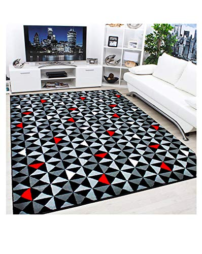 Modern Contemporary Black, Grey, Cream & Red Very Funky Extra Large Geometric Diamond Bedroom Floor Accessories Home Living Room Rug (Black & Red, 160x225cm)