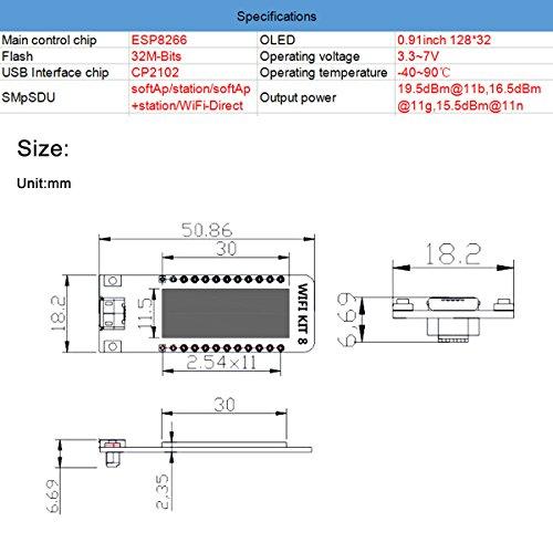 MakerFocus ESP8266 OLED WiFi Development Board 0.91 Inch ESP8266 OLED Display CP2102 Support Arduino IDE ESP8266 NodeMCU LUA
