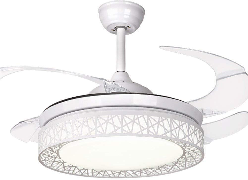 QCLU Ventiladores de Techo de 42 Pulgadas 4 aspas retráctiles Nido de pájaro LED Ventilador de Techo Lámpara de Cristal de Tres Colores con Control Remoto (Color : White)