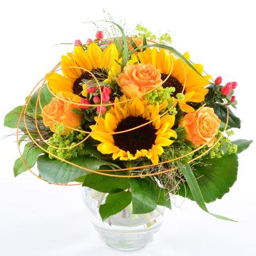 Blumenversand vom Besten! - Blumenstrauß - Sonnenblumengruß mit 3 großen Sonnenblumen - deutschlandweit versenden