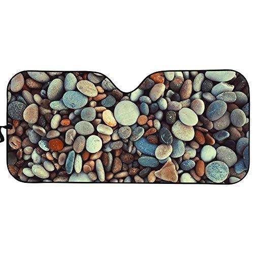 BIGCARJOB Nature Style Stone Printed Windshield Sun Shade Accordian Design Visor UV Protector Sunshade