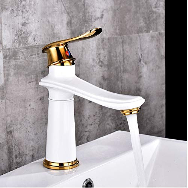 Ganjue Becken Wasserhahn Wasserhahn Bad Wasserhahn Messing WeiGold Schwarz Finish Single Handle Hot Cold Water Sink Mischbatterie, 1