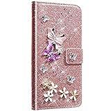 NSSTAR Compatible avec Samsung Galaxy Note 20 Coque Cuir Portefeuille Etui Glitter Bling Paillette Diamant Brillant Strass Papillon Fleur Housse avec Fentes de Carte Support Magnétique,Or Rose