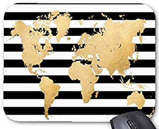 Black and White Stripes with Faux Gold Foil World Map Printable mouse pad