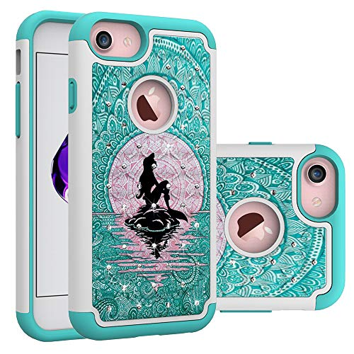 iPhone 7 Case, iPhone 8 Bling Case, Mermaid with Moon Pattern Heavy Duty Shockproof Studded Rhinestone Crystal Bling Hybrid Case Silicone Protective Armor for Apple iPhone 7 iPhone 8