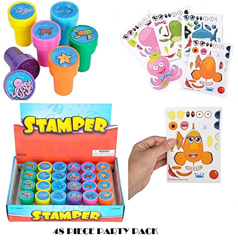 HOWBOUTDIS Kids Party Supply Set. 48 Piece Set of Make-Your-Own Sea Sticker Sheets (24) and Sea Creature Stampers (24). Great for Parties, School, or Craft Time! Let Your Kids get Creative!