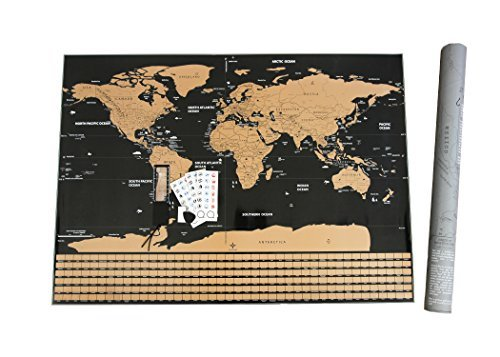 """Scratch Off World Map Wall Poster. Large 32"""" x 23"""" Mark and Track Your Travel - Home School Your..."""