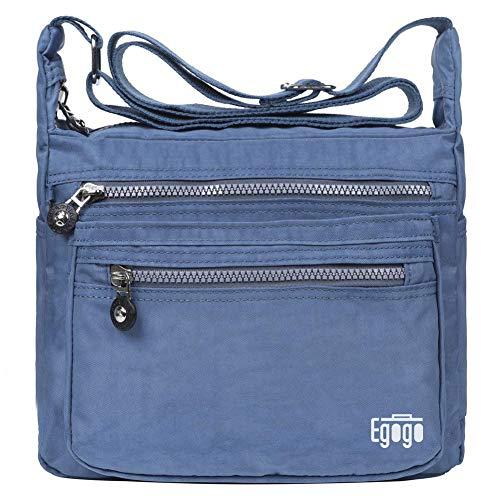 EGOGO Damen Umhängetasche Messengertasche Schultertasche Henkeltasche mit Reißverschluss E303-5 (Blau)