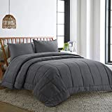 HOMBYS Ultra Soft Lightweight Bamboo-Filled Grey Queen Comforter, Quilted Summer Comforter Down Alternative Comforter Duvet Insert, 8 Corner Ties(Grey/Lightweight. Queen 90x90)