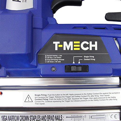 T-Mech Agrafeuse-Cloueuse Electrique Sans-Fil 2en1 avec Batterie 18V Li-Ion Supplémentaire, 300 clous et 300 agrafes Gratuits