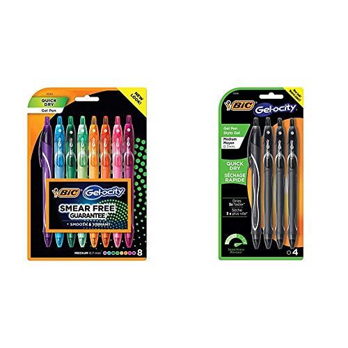 BIC Gel-Ocity Quick Dry Gel Pens, Medium Point Retractable Gel Pen (0.7mm), Assorted Colors, 8-Count & Gel-Ocity Quick Dry Gel Pens, Medium Point Retractable (0.7mm), Black Ink Gel Pen, 4-Count