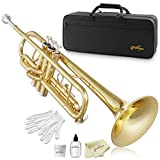 Ashthorpe Standard Bb Trumpet with Gold Brass Finish - Includes Case, Mouthpiece, Gloves, Cleaning Cloth, Valve Oil