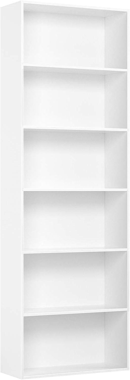 Homfa 6 Tier Bookcase Bookshelf Storage Shelving Unit Display Shelves Wooden Organiser 180cm (White)