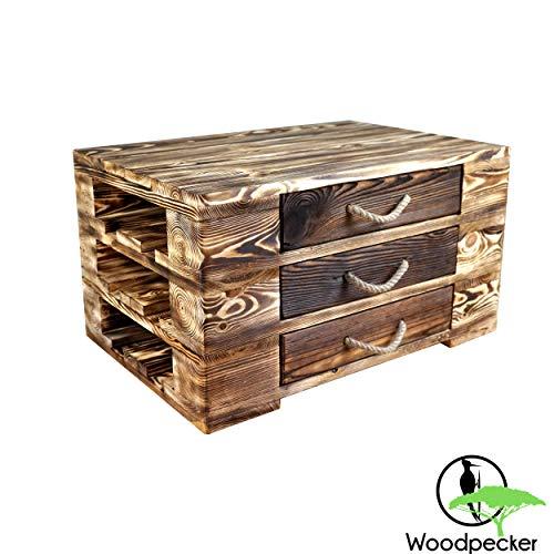 Woodpecker Couchtisch 67x47x37 cm- Palettenmöbel Stil-Kommode-Tv Schrank- aus Holz mit 3 Schubladen-Handarbeit