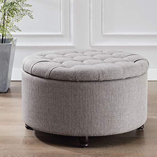Modern Round Ottoman Footrest Stool - Luxurious Button Tufted Covered Seat w/Removable Top for Storage - Easy Assembly Accent Furniture Perfect for Use in Any Room - Grey Color