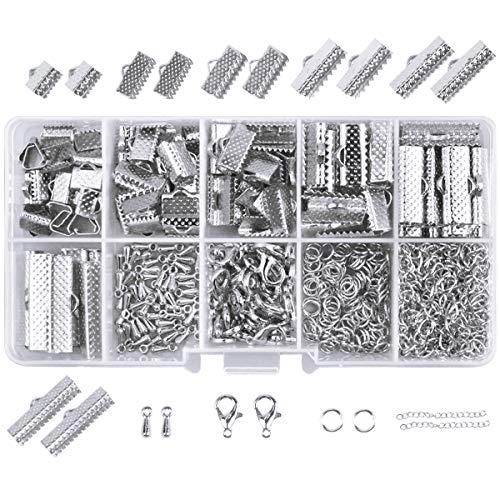 390 Piezas Kit de Hacer Bisutería Kit de Fabricación de Joyas Joyería con Cierres de Langosta Anillos de Salto Extensiones Cadenas Kit de Accesorios de Joyería Collares Pulseras con Caja (Plateado) ⭐