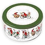 Grätz Verlag Plätzchendose für die Weihnachtskonditorei | Weihnachtliche Dose für Kekse | Keksdose 'Weihnachtsfahrrad', rot - grün, aus Blech, rund, ca. 10,5 cm hoch