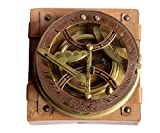 MAH - Top Grade 5 Inch Perfectly Calibrated Large Brass Nautical Sundial Antique Vintage Style Compass with Leather Box.C-3050