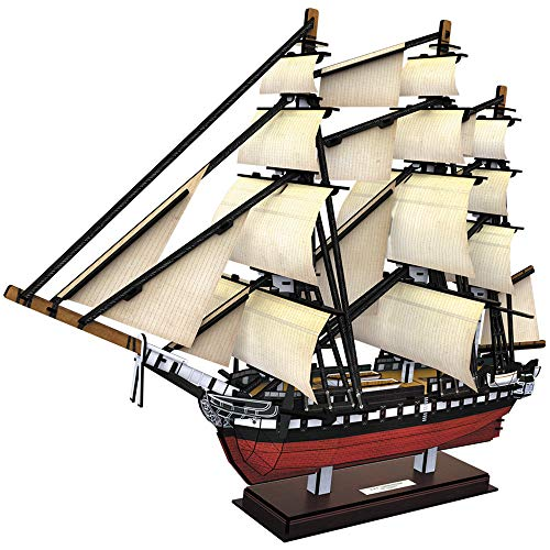 CubicFun 3D Puzzles USS Constitution Vessel Ship Model Building Kits for Adults and Kids, Crafts Gifts for Boys Girls Women Men- 193 Pieces