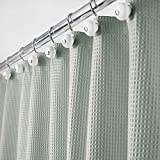 mDesign Long, Polyester/Cotton Blend Fabric Shower Curtain with Waffle Weave and Rust-Resistant Metal Grommets for Bathroom Showers and Bathtubs, 72' x 84' - Sea Green