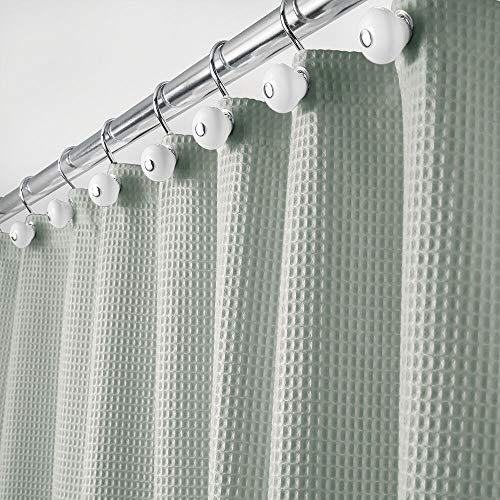 mDesign Luxus Duschvorhang – weicher Badewannenvorhang mit Waffelmuster – pflegeleichter Duschvorhang – grün