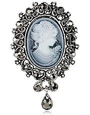 YONGHUI - Spilla vintage da donna, con cammeo, con cristalli, stile regina