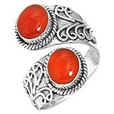 Jeweloporium Natürlich Karneol Ring 925 Sterling Silber Handgemacht Schmuck Größe 69 (22.0)