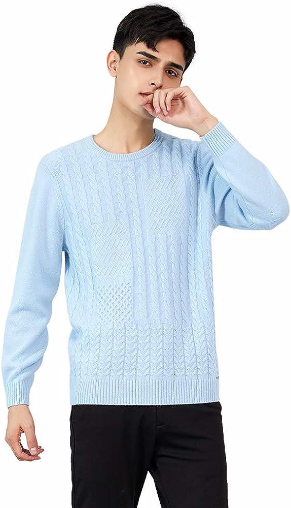 织礼 Zhili Men's 100% Cashmere Cable Twist Solid Pullover Sweater
