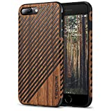 TENDLIN iPhone 8 Plus Case/iPhone 7 Plus Case with Wood Grain Outside Soft TPU Silicone Hybrid Slim Case for iPhone 7 Plus and iPhone 8 Plus (Wood & Leather)
