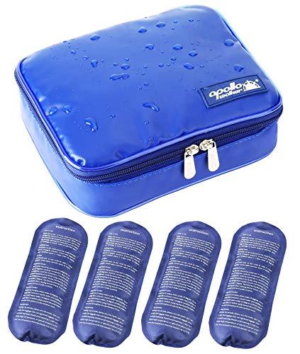 [Nueva versión] Bolsa Isotermica Insulina ONEGenug Impermeable Bolsa Diabética Bolsas de frío y Calor Bolsa de jeringas para la diabetes, insulina y Medicamentos (L + 4 Bolsas de hielo)